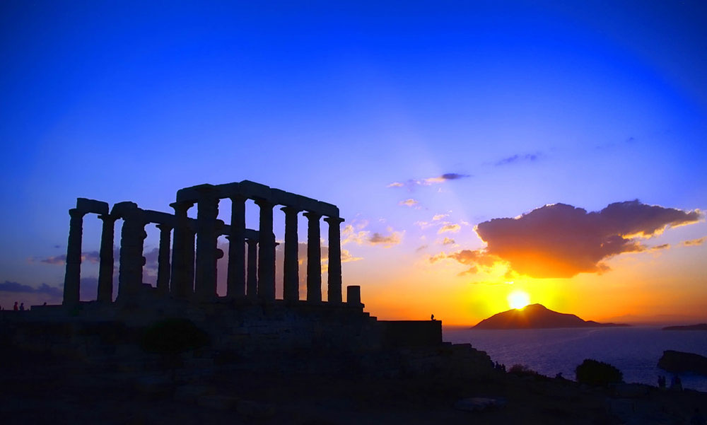 Cape Sounion, sumset